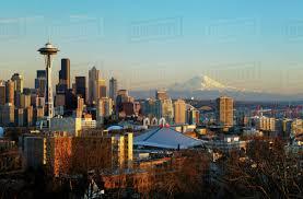 Seattle Cityscape Washington Seattle Cityscape Of The Space Needle And Mount Rainier D1234_1_352