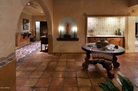 dining room tile flooring. southwestern dining room with handmade mexican saltillo floor tile, high ceiling, terracotta tile floors flooring