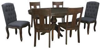 7 Piece Oval Dining Table Set With Upholstered Chairs Wood Seat