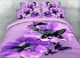 purple bed sets and erfly printed cotton 4 piece purple bedding sets duvet covers purple