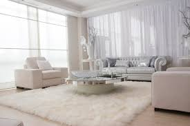 Luxury Furry Rug Design In Modern White Living Room Hupehome