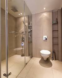 contemporary bathroom with built instorage with glass wall design ideas