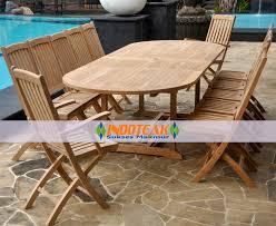 folding teak patio set. patio furniture sets, large teak oval double extend table, 10 foldable chairs and 2 arm folding set