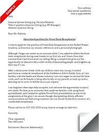 Receptionist Cover Letter Receptionist Cover Letter Sample Medical