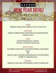 New Year Menu New Year 2018 Special Menu Sapore Restaurant