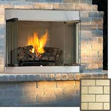 superior series outdoor vent free propane fireplace with white stacked canadian tire