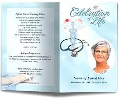 Memorial Pamphlet Template Memorial Brochure Template Nurse Single Fold Funeral Program Nursing