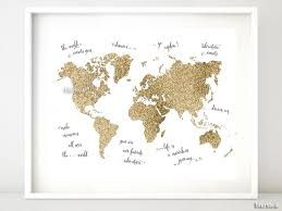 Gold Quotes Gorgeous Gold Glitter World Map With Inspirational Quotes 448x48 Blursbyai