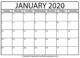 Printable Calendars For 2020 Blank January 2020 Calendar Printable By Mateo Pedersen Tpt