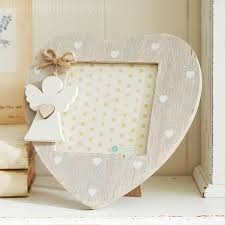 angel heart photo frame natural wood