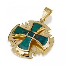 ben jewelry 14k gold eilat stone men s rounded jerum cross pendant jewelry my jerum