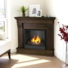 corner ventless gel fuel fireplace in dark walnut