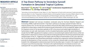 Paper On Secondary Eyewall Formation In Tropical Cyclones Published