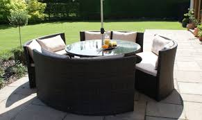 barbuda round sofa garden dining set brown rattan plus free lazy susan