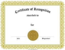 Printable Certificate Of Recognition Free certificate of recognition template Customize online 1