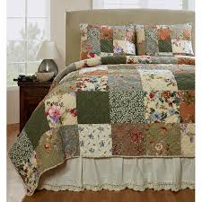 makeover your bedroom into a cozy spot to snuggle down with this three piece quilt set the colorful patchwork pattern gives this lovely set a homespun feel