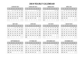 Calendar Year 2019 Printable 2019 Whole Year Calendars Free Printable Calendars