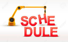 Schedule Word Industrial Robotic Arm Building Schedule Word On White Background