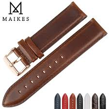 <b>MAIKES</b> Genuine Leather Watch Strap Brown With Rose Gold Clasp ...