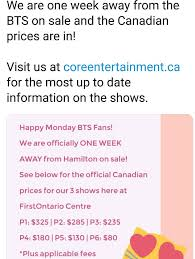 Firstontario Centre Bts Seating Chart Updated Ticket Prices For Hamilton And Seating Chart Bts