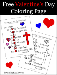 Valentines Day Coloring Page With John 316 Quote Roaming Rosie