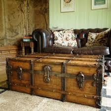antique banded steamer trunk victorian