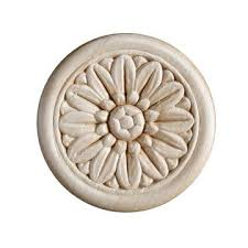 wooden appliques for furniture. Round Heat Embossed Flower Applique - 2 Inch Or 4 Wooden Appliques For Furniture