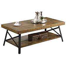 metal coffee table. Emerald Home Chandler Rustic Industrial Solid Wood And Steel Coffee Table With Open Shelf Metal