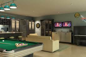 ... man cave ideas Garage, Brushed Aluminum Doors With Black Glass Inserts  Make Up The Classy Built In Wine ...