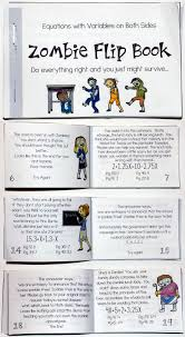 solving equations with variables on both sides zombie flip book