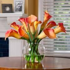 officescapesdirect calla lily centerpiece silk flower arrangement orange artificial plants for office decor