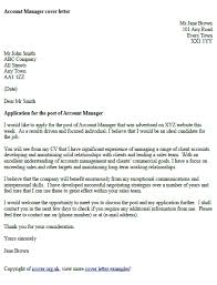 Account Manager Cover Letter Example Cover Letter Example