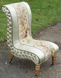 Old Fashioned Bedroom Chairs Victorian Needlepoint And Silk Open Bedroom Chair Antiques Atlas