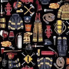 5 alarm firefighter equipment black by dan morris for quilting treasures fabrics