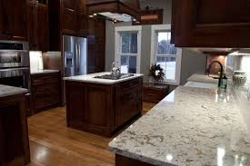 White Quartz Countertops With Cherry Cabinets Deductour Com Kitchen