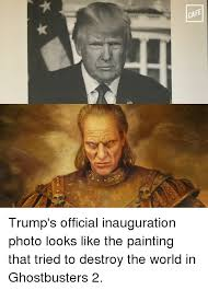 memes ghostbusters and cafe trump s official inauguration photo looks like the painting
