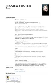 Student Ambassador Resume samples