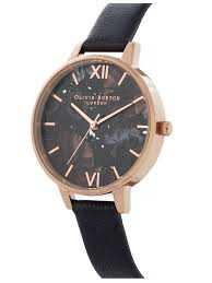 olivia burtoncelestial rose gold black leather strap watch ob16gd22