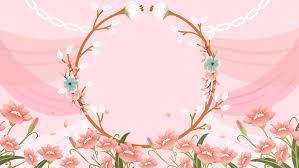 Pink Romantic Wedding Flower Border Background Design Pink