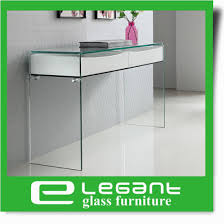 bent glass console table with glass shelf and high gloss white painting mdf drawers