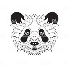 нарядный панды татуировка эскиз векторный рисунок стоковая