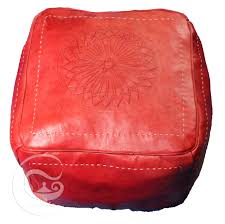 red square leather ottoman