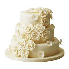 3 Tier White Rose Wedding Cake Vanilla 5kg Gift 3 Tier Wedding