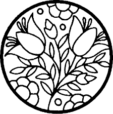 Spring Coloring Pages Stain Glass Flowers Free Printable Coloring