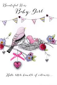 Beautiful New Baby Girl Greeting Card Cards