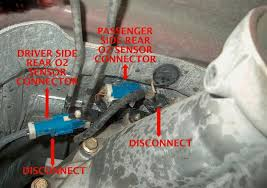 ford f150 f250 replace oxygen sensor how to ford trucks step 4 disconnect the connectors on top of the transmission