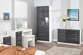 grey and white bedroom furniture. Image Is Loading HIGH-GLOSS-GREY-ON-WHITE-LUXURY-BEDROOM-FURNITURE- Grey And White Bedroom Furniture E