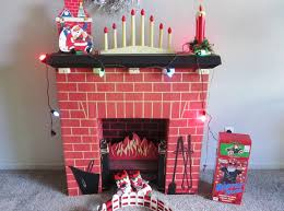 image of cardboard fireplace decoration with chimney