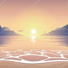 海のビーチに沈む夕日 ストックベクター Ilyaf 106113024