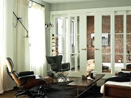 indoor sliding glass doors interior sliding glass doors living room modern with brick wall cowhide rug